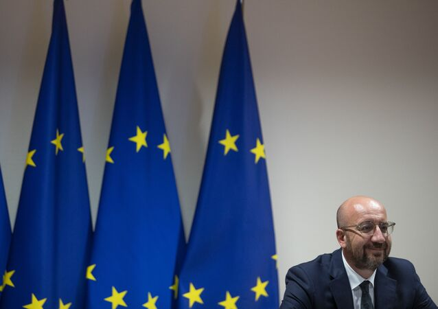 European Council President Charles Michel waits for the start of a videoconference with the European Commission president, prior to EU-UK talks via videoconference, at the European Council building in Brussels on June 15, 2020.