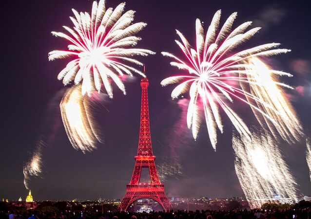 Fireworks illuminate the Eiffel Tower in Paris during Bastille Day celebrations late Sunday, July 14, 2019. Bastille Day marks the July 14, 1789, storming of the Bastille prison by angry Paris crowds that helped spark the French Revolution.