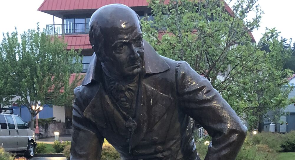 A monument to the governor of Russian settlements in North America, Alexander Baranov is pictured in the Alaskan city of Sitka, United States