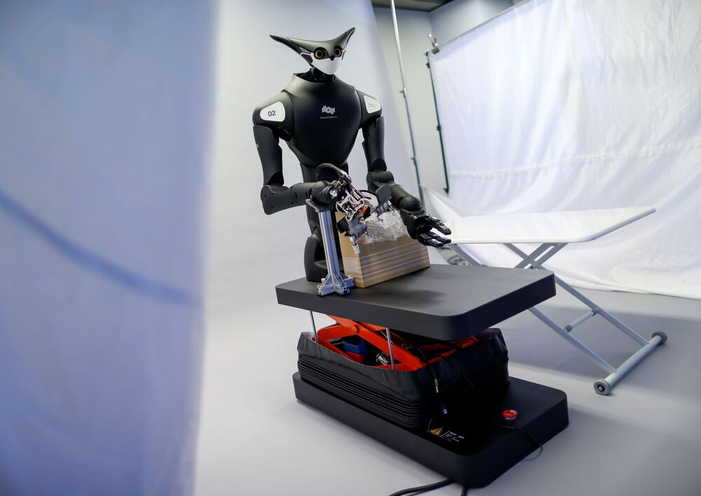 Telexistence's shelf-stacking avatar robot, designed to resemble a kangaroo and developed to work in a convenience store, is seen during a photo opportunity ahead of its unveiling in Tokyo, Japan July 3, 2020.