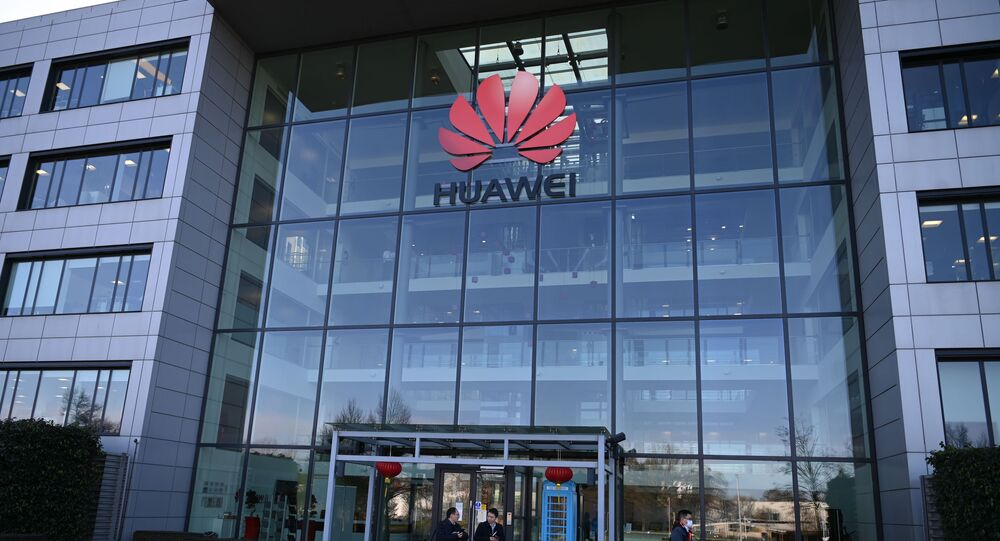 A photograph shows the logo of Chinese company Huawei at their main UK offices in Reading, west of London, on January 28, 2020.