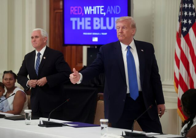 U.S. President Donald Trump gives a thumbs-up as he departs at the end of an event celebrating law enforcement officers and citizens who have been helped by them at the White House in Washington, U.S., July 13, 2020