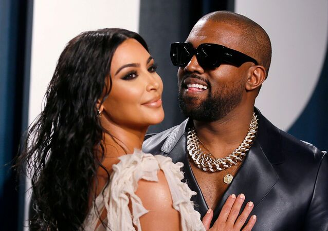 Kanye West and Kim Kardashian attend the Vanity Fair Oscar party in Beverly Hills during the 92nd Academy Awards, in Los Angeles, 9 February 2020.