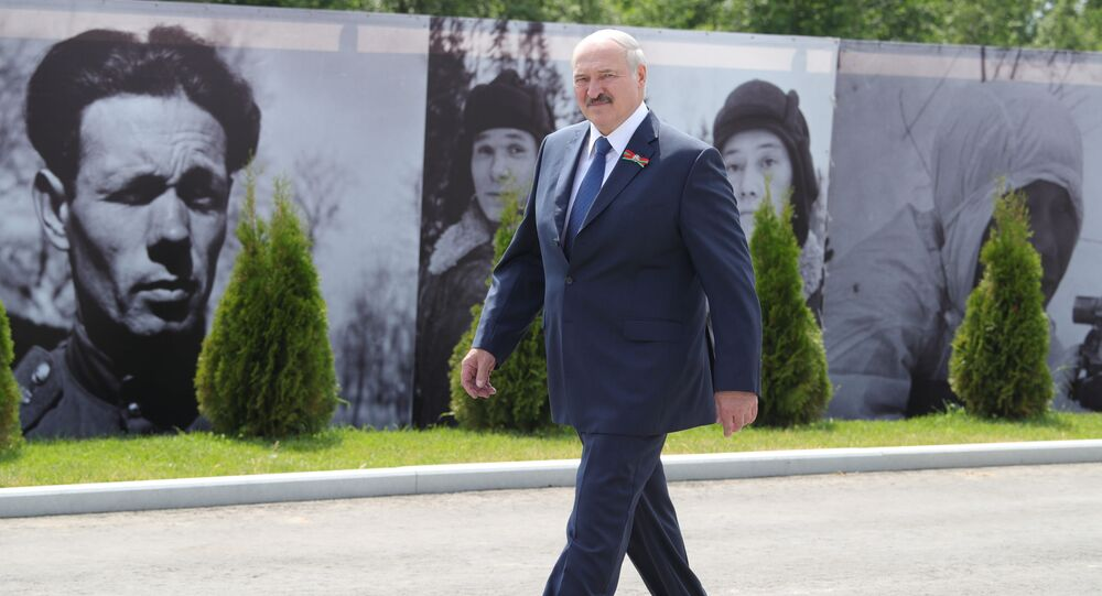 Belarusian President Alexander Lukashenko at a ceremony dedicated to the opening of the Rzhev Memorial to the Soviet Soldier, June 30, 2020.