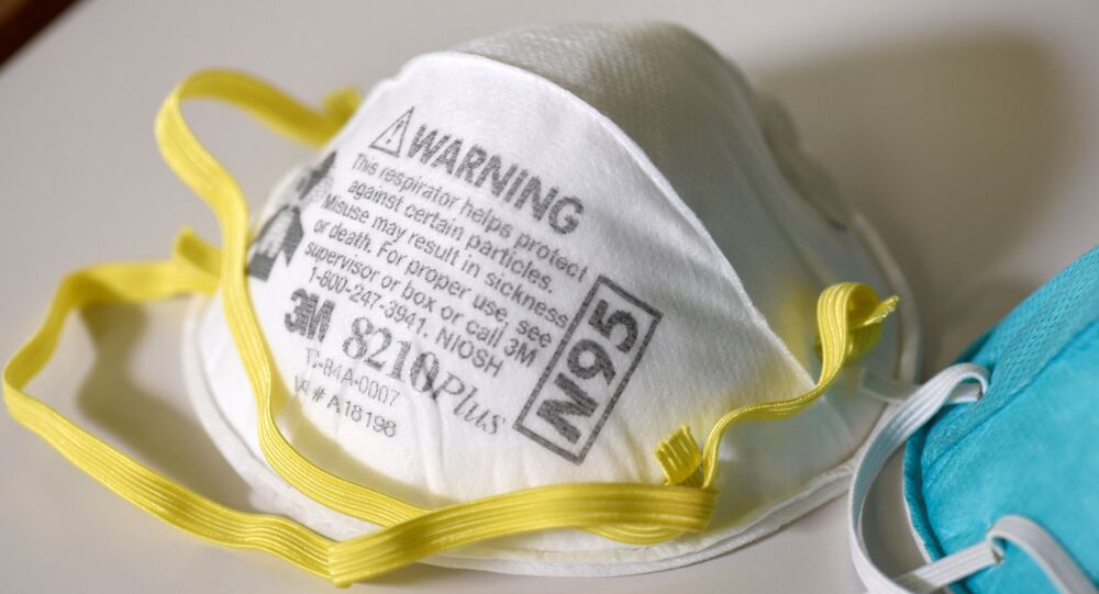 Various N95 respiration masks at a 3M laboratory, which has been contracted by the US government to produce extra masks in response to the country's novel coronavirus outbreak, in Maplewood, Minnesota, 4 March 2020