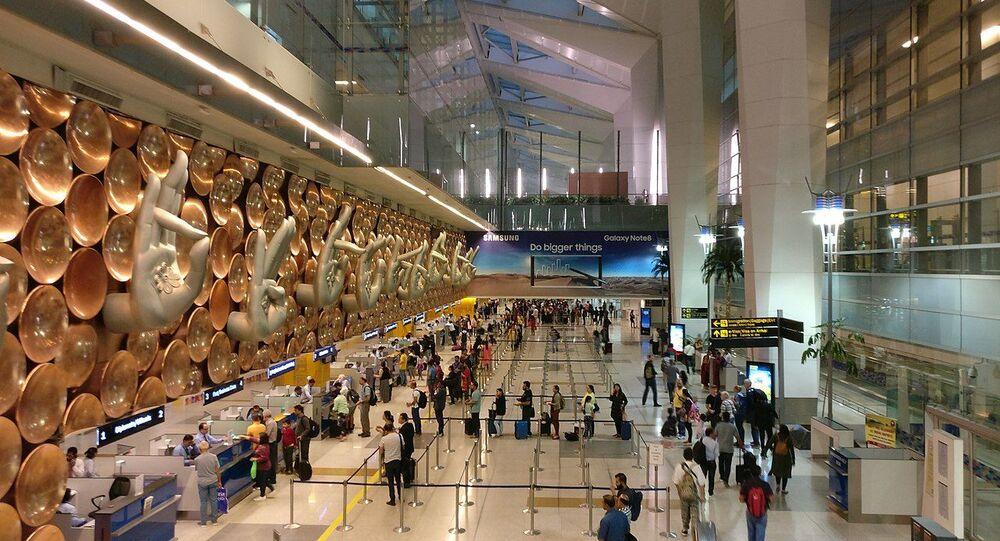 Sculpture of hasta mudras or hand gestures at Terminal 3 of Indira Gandhi International Airport in New Delhi, India
