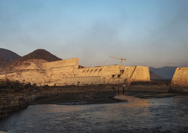A general view of the the Grand Ethiopian Renaissance Dam (GERD), near Guba in Ethiopia, on December 26, 2019. The Grand Ethiopian Renaissance Dam, a 145-metre-high, 1.8-kilometre-long concrete colossus is set to become the largest hydropower plant in Africa.