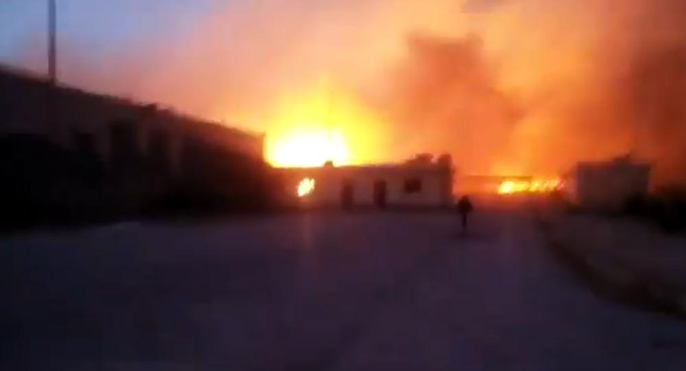 Screenshot of explosion in al-Hasakah region Wednesday night targeting a Syrian Democratic Forces ammunition dump.
