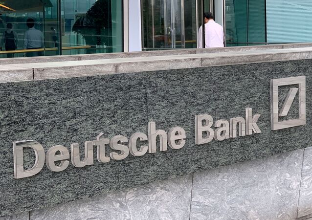 The logo of Deutsche bank is seen in Hong Kong, China July 8, 2019.