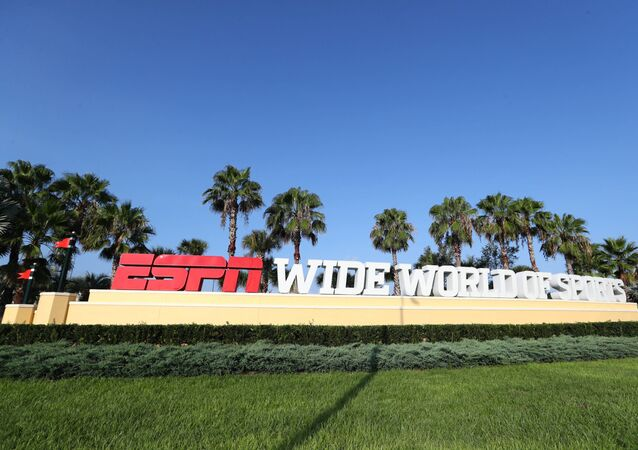 Jul 14, 2020; Orlando, FL, USA;   Detail view of the entrance of ESPN Wide World of Sports  where they are hosting the NBA and MLS games for the summer due to COVID-19.