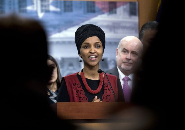 Congressional Progressive Caucus members Rep. Ilhan Omar, D-Minn., accompanied by Rep. Mark Pocan, D-Wis., and other members of the Caucus, speaks during a news conference on last week's targeted killing of Iran's senior military commander Gen. Qassem Soleimani on Capitol Hill, in Washington, Wednesday, Jan. 8, 2020.