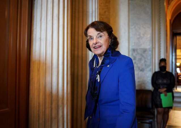 U.S. Sen. Dianne Feinstein (D-CA) departs following a vote to close debate on the motion to proceed to consideration of the National Defense Authorization Act in the U.S. Capitol in Washington, U.S., June 25, 2020.