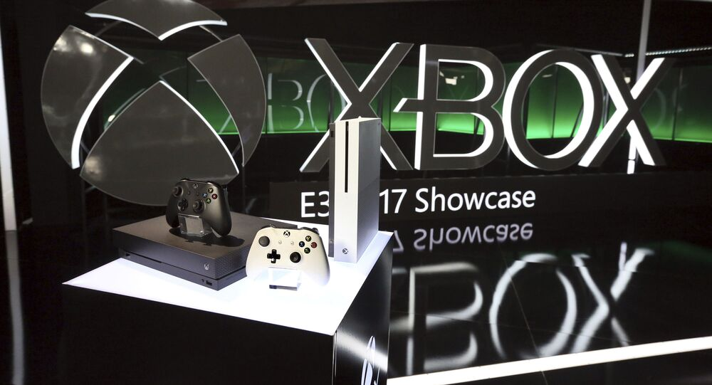 The Xbox One family of devices, including Xbox One X, on display at the Xbox Media Showcase at E3 2017 in Los Angeles on Monday, 12 June 2017