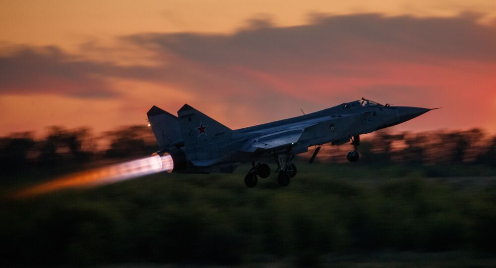 MiG-31 interceptor fighter takes off during a training flight at the State Centre for the Training of Aviation Personnel and Military Tests of the Ministry of Defence of the Russian Federation n.a. V.P. Chkalova in Lipetsk