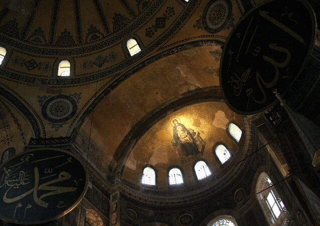 A mosaic of The Virgin and the Child is seen on the dome of Hagia Sophia