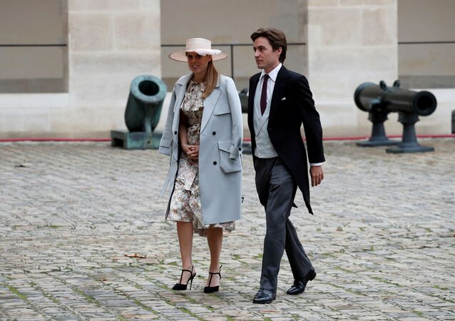 Britain's Princess Beatrice and property tycoon Edoardo Mapelli Mozzi attend the wedding ceremony of Jean-Christophe Napoleon Bonaparte and Olympia von Arco-Zinneberg at the Saint-Louis des Invalides Cathedral in Paris, France, October 19, 2019