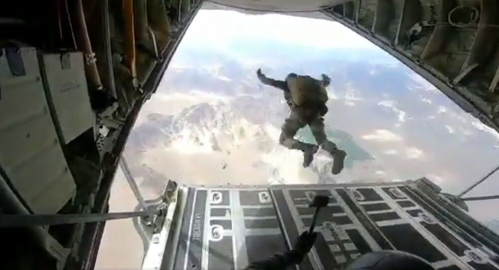 Indian army personnel para-dropping near contested Pangong Tso, almost 40km away