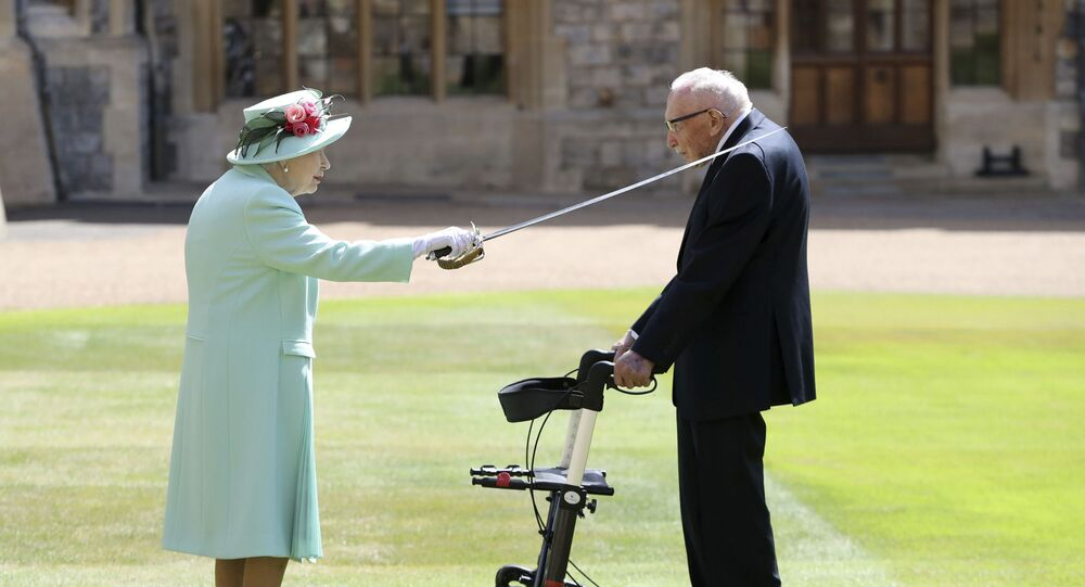 Captain Sir Tom Moore Being Knighted