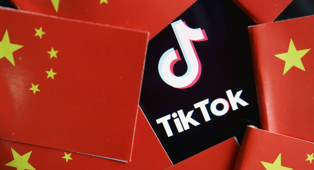 China's flags are seen near a TikTok logo in this illustration picture taken July 16, 2020