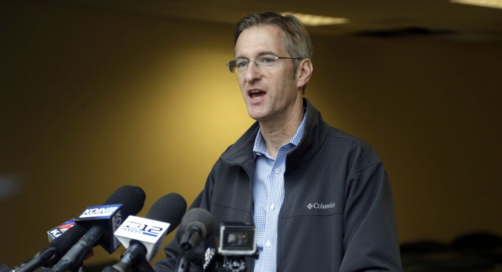 In this Jan. 17, 2017, file photo, Portland Mayor Ted Wheeler speaks during a press conference in Portland, Ore. A Portland man is suing the city and Wheeler, claiming the mayor's office has improperly kept secret records about a homeless shelter project.