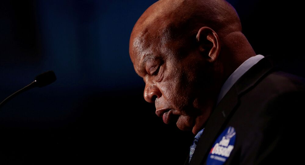 Congressman John Lewis addresses supporters of Democrat Jon Ossoff as they wait for the poll numbers to come in for Georgia's 6th Congressional District special election in Atlanta, Georgia, U.S., June 20, 2017