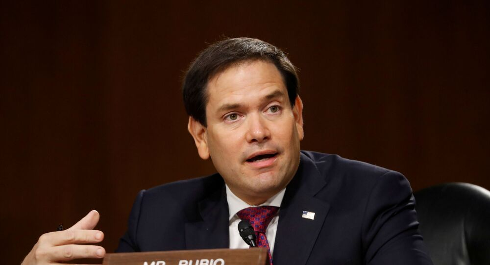 U.S. Sen. Marco Rubio (R-FL) speaks during a Senate Intelligence Committee nomination hearing for Rep. John Ratcliffe (R-TX), on Capitol Hill in Washington, U.S., May 5, 2020