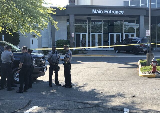 Police presence after a stabbing incident at Grove Covenant Church in Chantilly, Virginia
