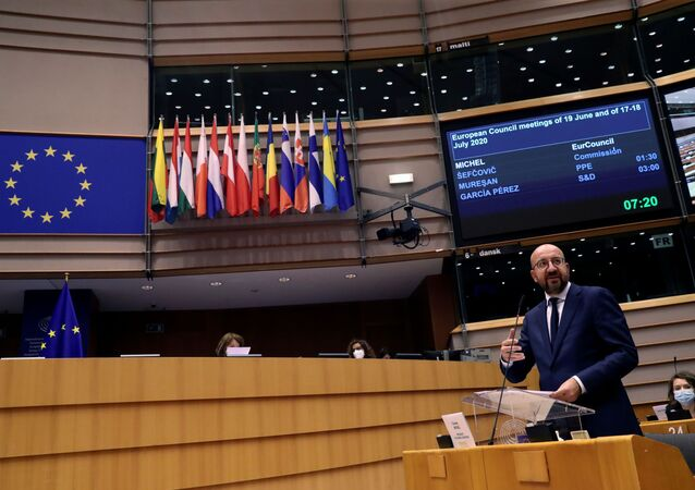 European Council President Charles Michel speaks during a debate about EU financing and economic recovery with EU lawmakers at the European Parliament in Brussels, Belgium July 8, 2020.