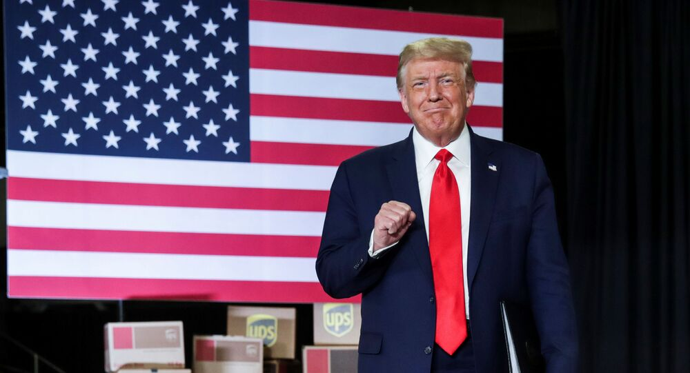 U.S. President Donald Trump arrives to speak at an event at the United Parcel Service (UPS) Airport Facility in Atlanta, Georgia, U.S.,  July 15, 2020.