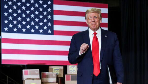 U.S. President Donald Trump arrives to speak at an event at the United Parcel Service (UPS) Airport Facility in Atlanta, Georgia, U.S.,  July 15, 2020. - Sputnik International