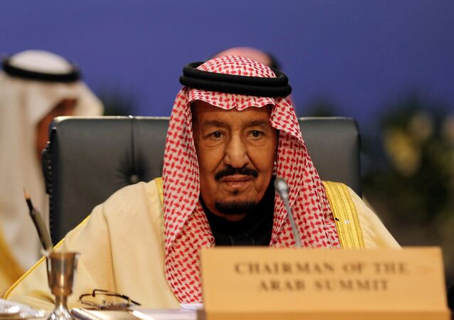 Saudi Arabia's King Salman attends a summit between Arab league and European Union member states, in the Red Sea resort of Sharm el-Sheikh, Egypt, February 24, 2019