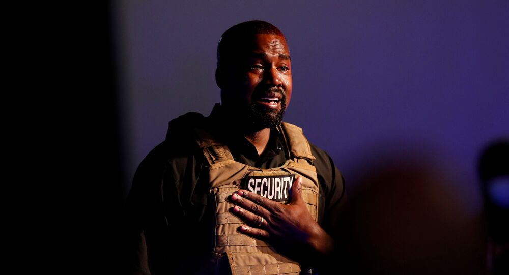 Rapper Kanye West gets emotional as he holds his first rally in support of his presidential bid in North Charleston, South Carolina, U.S. July 19, 2020