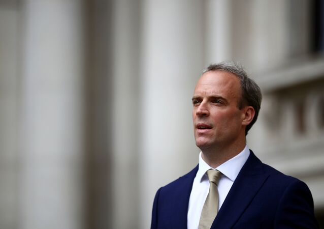 Britain's Foreign Secretary Dominic Raab makes a statement on Hong Kong's national security legislation in London, Britain, July 1, 2020