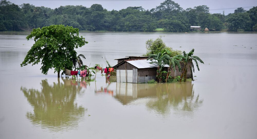 A partially submerged house is seen at the flood-affected Mayong village in Morigaon district, in the northeastern state of Assam, India, June 29, 2020