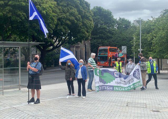 All Under One Banner demonstration outside Scottish Parliament, Edinburgh