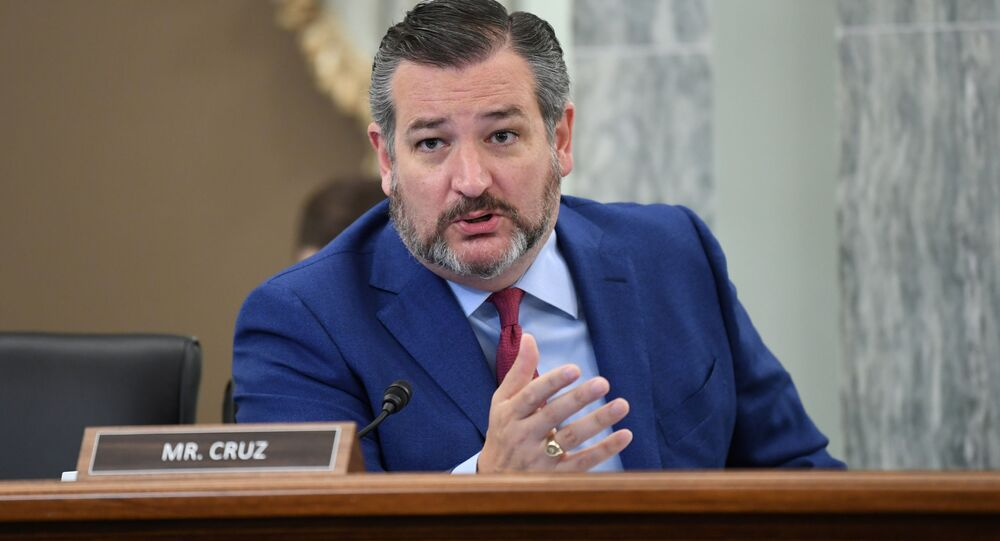 U.S. Senator Ted Cruz (R-TX) asks a question during an oversight hearing held by the U.S. Senate Commerce, Science, and Transportation Committee to examine the Federal Communications Commission (FCC), in Washington, U.S. June 24, 2020
