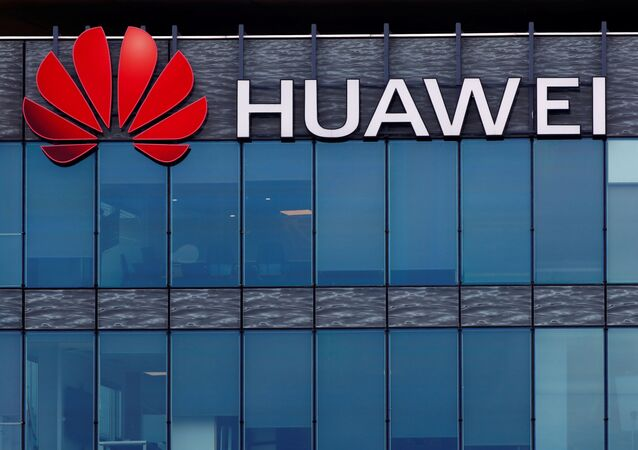 A view shows a Huawei logo at Huawei Technologies France headquarters in Boulogne-Billancourt near Paris, France, July 15, 2020