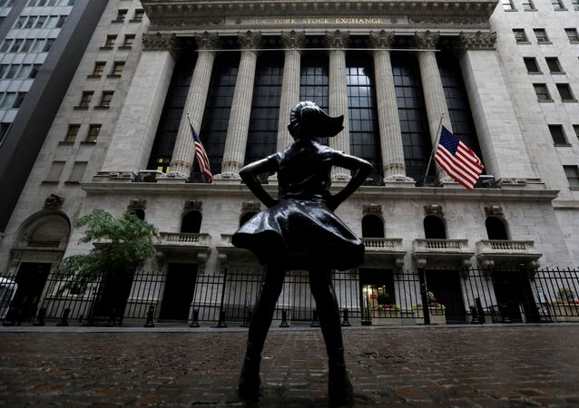 The Fearless Girl statue is seen outside the New York Stock Exchange (NYSE) in New York City, New York, U.S., June 11, 2020.