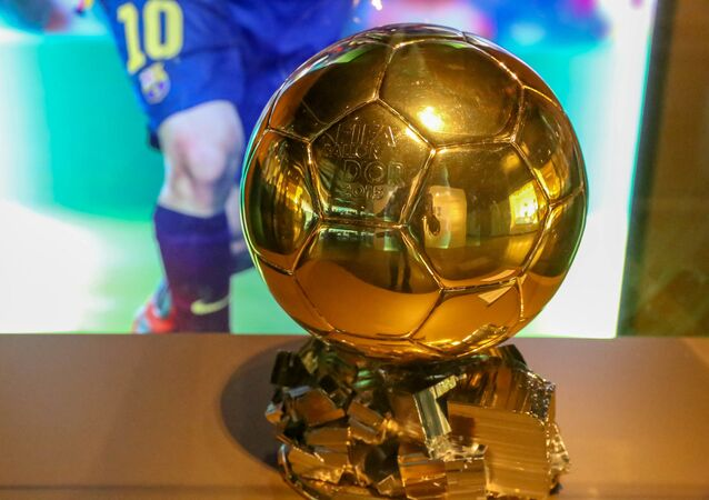 Golden Winner of the Ballon d'Or in 2015 Trophy for FC Barcelona soccer player Lionel Messi at Camp Nou Museum in Spains capital