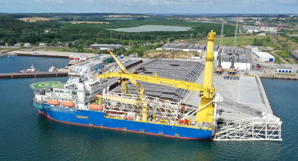 The Russian pipe-laying vessel Akademik Cherskiy, which may be used to complete the construction of the Nord Stream 2 gas pipeline, lies in the port of Mukran, Germany, July 7, 2020