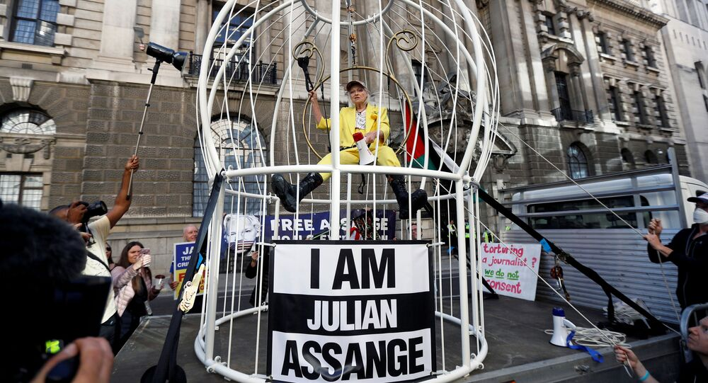 Vivienne Westwood demonstrates outside the Old Bailey in support of Julian Assange, in London, Britain, July 21, 2020