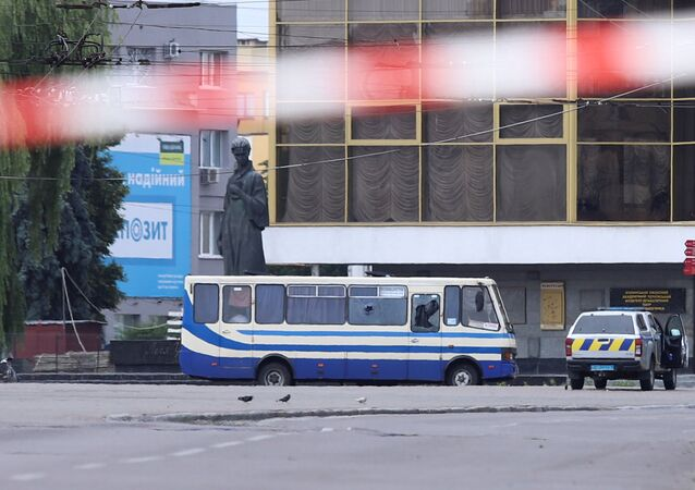 A view shows a passenger bus, which was seized by an unidentified person in the city of Lutsk, Ukraine July 21, 2020