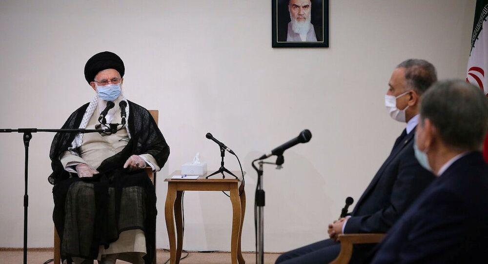 Iran's Supreme Leader Ayatollah Ali Khamenei meets with Iraqi Prime Minister Mustafa al-Kadhimi