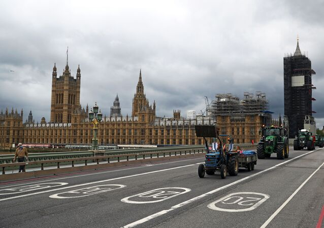 Farmers ride tractors during a demonstration, next to the Houses of Parliament in Westminster in London, Britain, July 8, 2020