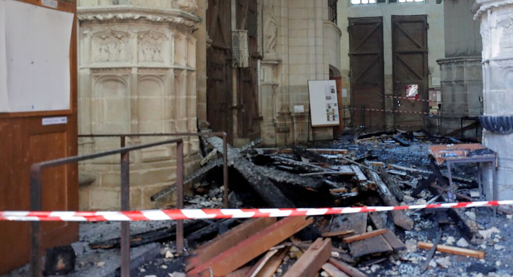 Debris inside the Cathedral of Saint Pierre and Saint Paul in Nantes