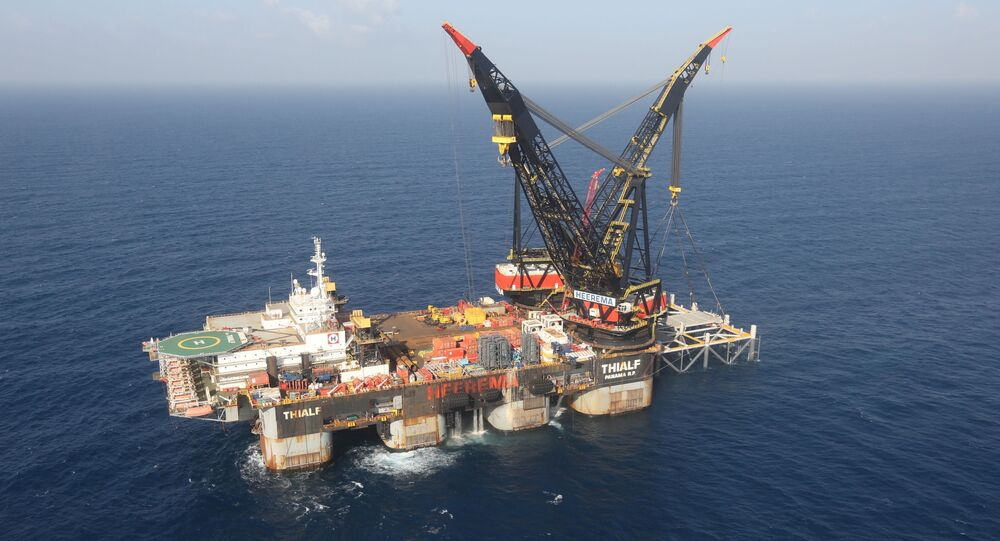An aerial view shows the foundation platform of Leviathan natural gas field, in the Mediterranean Sea, off the coast of Haifa, Israel on 31 January 2019