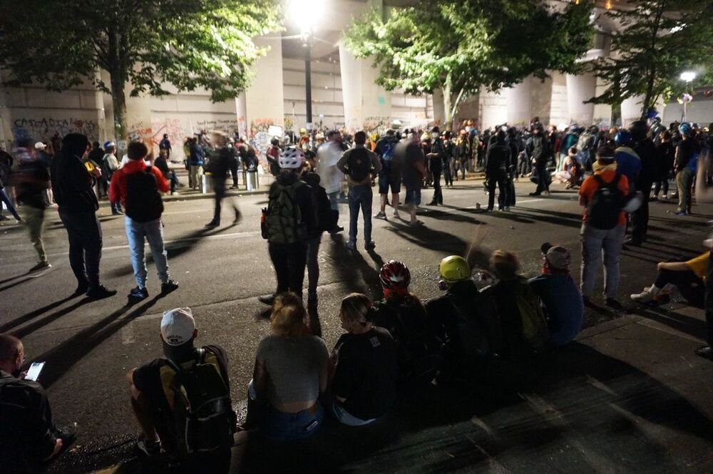 Mark O'Hatfield courthouse in Portland, where protesters gathered to speak out against racism
