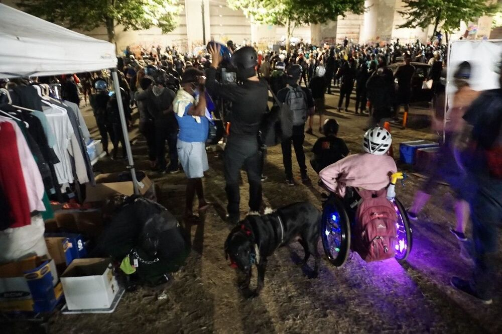 A disabled person at the protest against racial inequality in Portland
