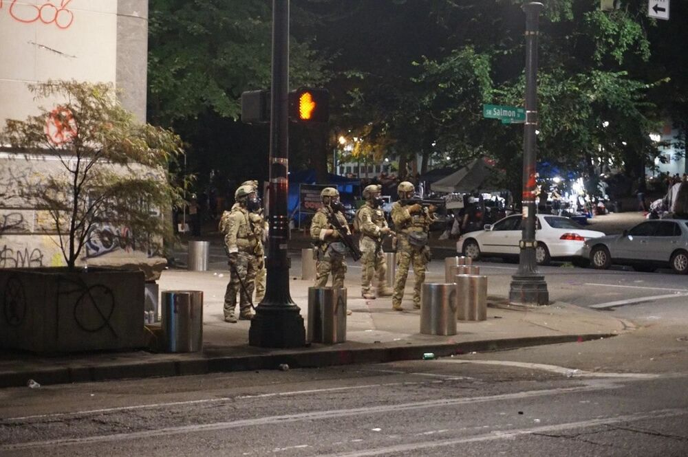 Heavily-armed federal police officers dispatched to Portland to contain the unrest