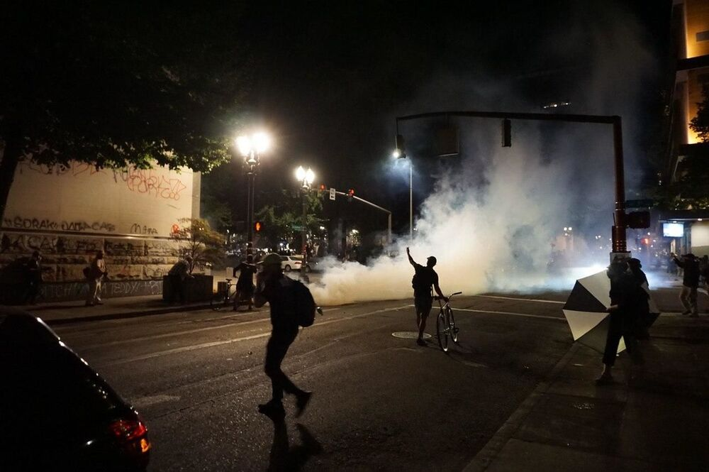 Smoke pellets launched during protests in Portland